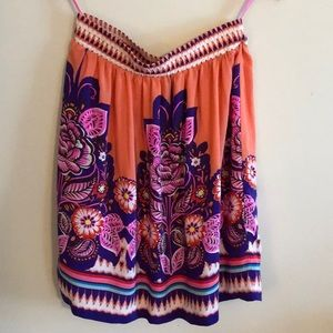 Anthropologie Coral Floral Lined Silk Skirt Size 6